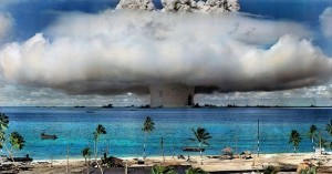 A nuclear weapon is detonated at Bikini Atoll in the Marshall Islands in 1946. (Photo: International Campaign to Abolish Nuclear Weapons / Flickr)